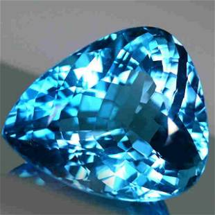 76.32 Cts Natural Pear Cut Blue Topaz