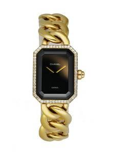 Chanel Paris 18K Yellow Gold & Diamond Bezel Onyx Dial