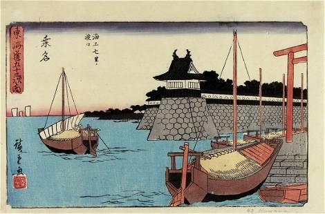 Utagawa HIROSHIGE (1797-1858): Station no. #42: Kuwana