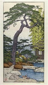 Toshi YOSHIDA (1911-95): Garden with pond, pine tree