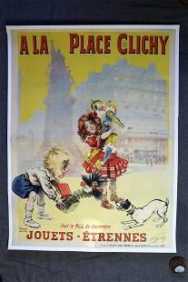 "A La Place Clichy - Art by Maurice Neumon (1905) 37"" x"