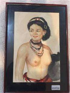 Bali Lady - Art by Oskar Navarro (1956) Watercolor -