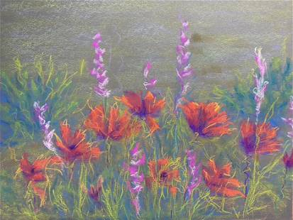 Roya Mansourkani, Poppies, Pastel on Paper , Original,