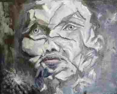 Broken, black and white woman portrait, oil painting