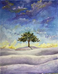 Original Oil Painting, Night in Desert, Oil Painting,