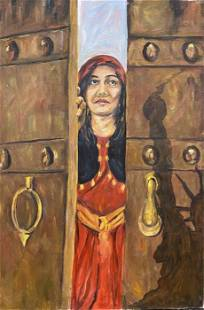 "Roya Mansourkhani, Immigration, Oil, 36"" x 24"""