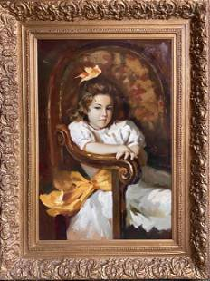 """A. Sinar, Young Girl In Chair, oil, 49"""" x 37""""x 3.5"""""""