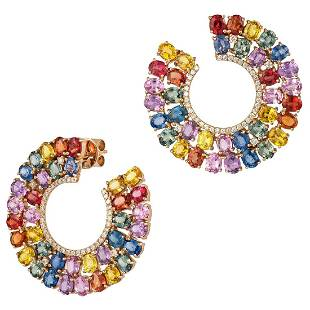 EARRING 18K Rose Gold, Diamond 0.52 Cts/83 Pieces,