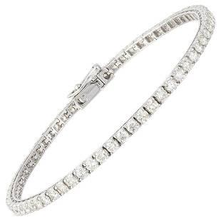 BRACELET 18K White Gold Diamond 3.83 Cts/65 Pcs