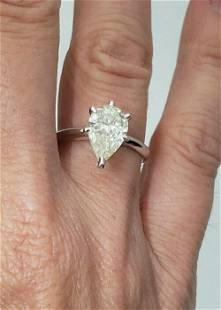 LADIES 14K WHITE GOLD PEAR SHAPED 2.00ct DIAMOND