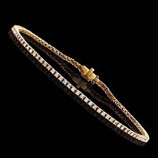 1.15 CTS CERTIFIED DIAMONDS 14K YELLOW GOLD TENNIS