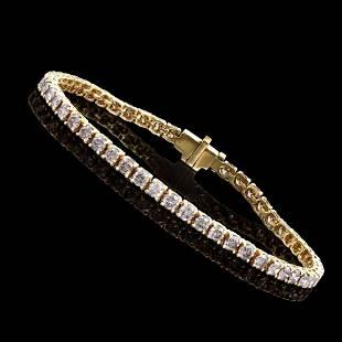 5.75 CTS CERTIFIED DIAMONDS 14K YELLOW GOLD TENNIS