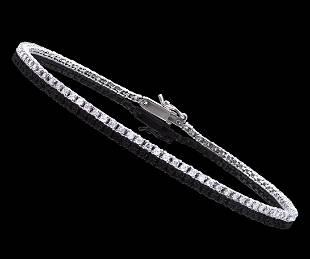 1.15 CTS CERTIFIED DIAMONDS 14K WHITE GOLD TENNIS