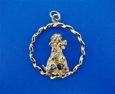 TIMELESS 14k Yellow Gold & Ruby Dog Charm Pendant