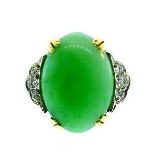 VINTAGE 14k Yellow Gold, Diamond & Jade Ring Circa