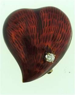 ADORABLE 18K GOLD DIAMOND RED ENAMEL HEART PIN/BROOCH