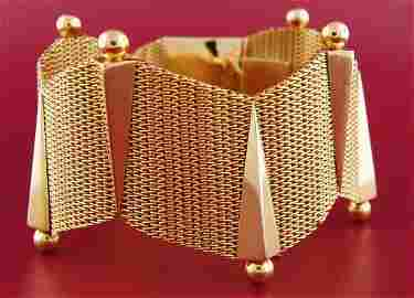 Retro 1940s YELLOW GOLD BRACELET Wide Geometrical