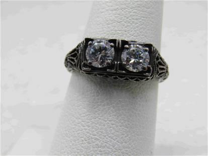 Vintage Sterling CZ Filigree Engagement Ring, Sz. 7,