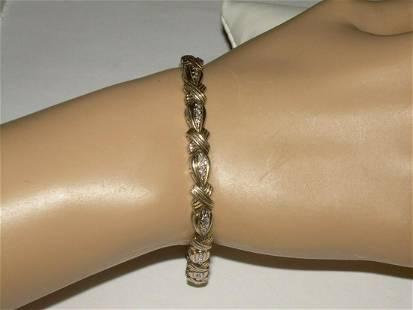"Sterling Vermeil Art Deco Bracelet - 7.5"", Marked R 925;"