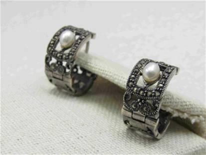 Vintage Sterling Faux Pearl Marcasite Earrings, Hoop