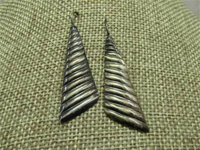 """Vintage Sterling Silver Ridged Drop Earrings, 2"""""""