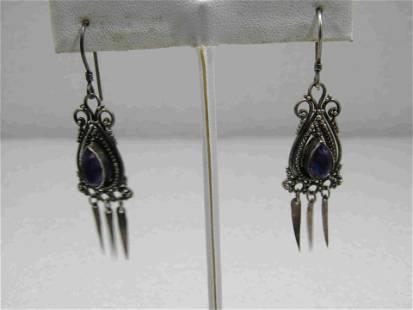 Vintage Sterling Boho/Bali Amethyst Drop Earrings,