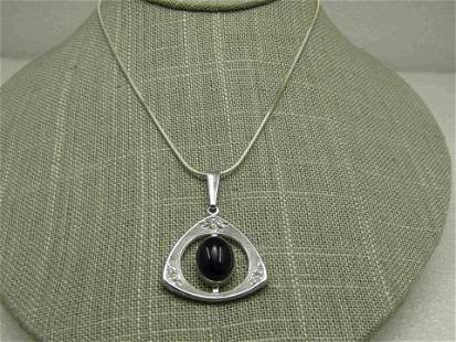 """Sterling Silver Onyx Triangular Pendant Necklace, 18"""""""