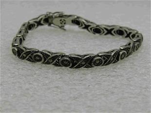"""Vintage Sterling X O Marcasite Tennis Bracelet, 7"""""""