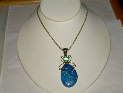 "Sterling Jasper Agate Pendant/Necklace 18"" Chain W/2"