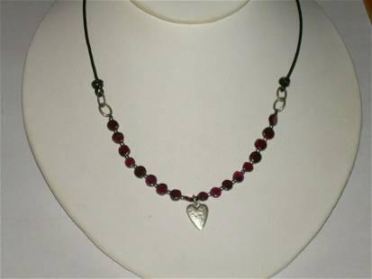 "Silpada Sterling Red Garnet Necklace; 16"" W/2"" Extender;"