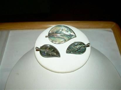 Vintage Sterling Cuernavac Abalone Leaf Brooch