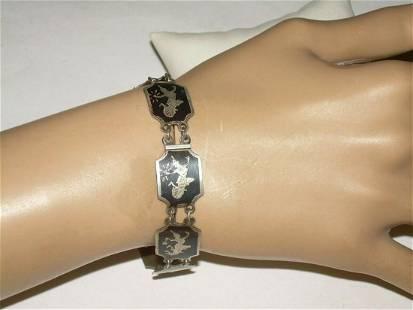 Vintage Sterling Siam Bracelet,Black Enamel Linked -
