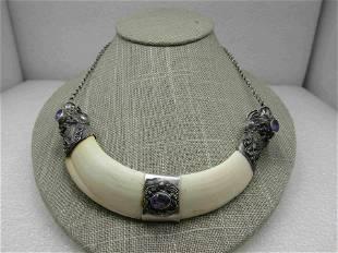 Vintage Sterling Dragon & Amethyst Capped Bone