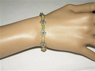 "Vintage Sterling Marcasite & Faux Opal Bracelet; 7"";"