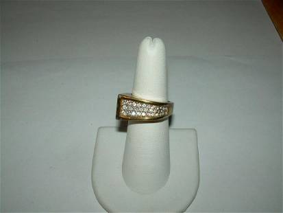 Gold Over Sterling Unisex Ring With Micro Pave CZ