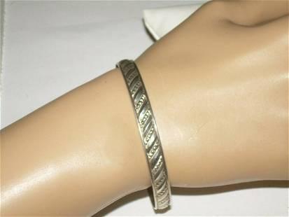 Sterling Angled Segmented Bangle Bracelet - 1970's