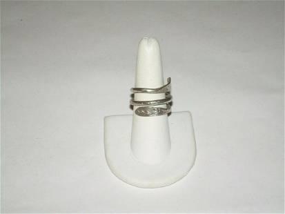 Vintage Sterling Coil Snake Ring, Size 7 1/2 , Signed