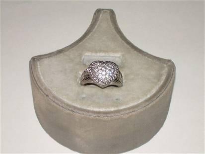 Judith Ripka Sterling Crystal/CZ Ring - Vintage Heart