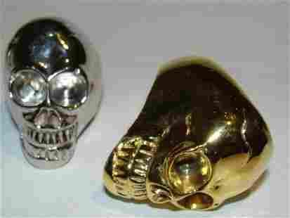 Sterling Silver Plated Brass Skull Ring