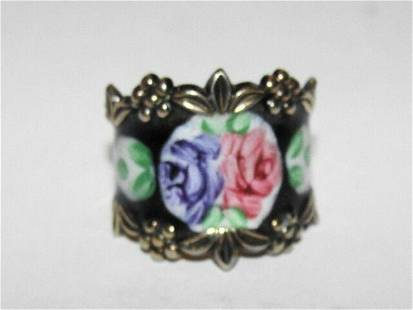 Art Deco Black Floral Enamel Ring