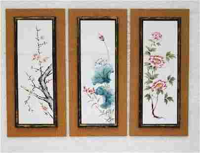 Trio TIle Wall Panel Featuring Watercolor - Mid Century