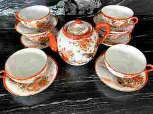 Antique Handpainted Porcelain tea set 14 pcs.