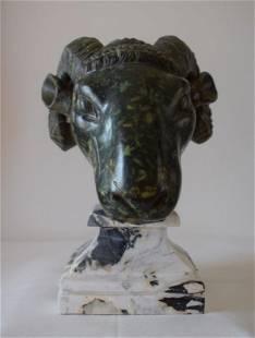 Ram head, porphyry, 19th century