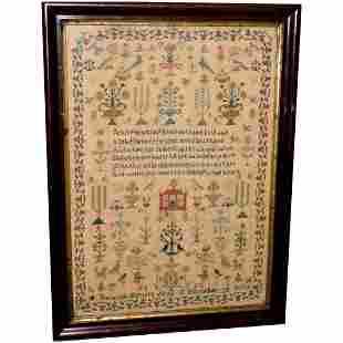 Victorian Silkwork Sampler Dated 1865