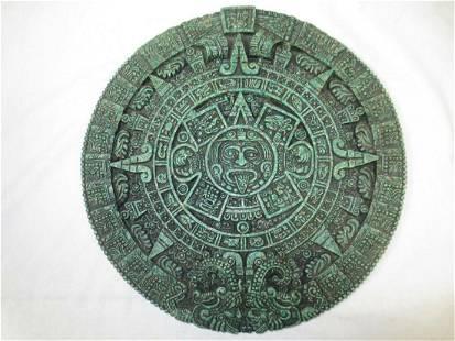 Plaque Aztec Solar Sun Stone Calendar sculpture vintage