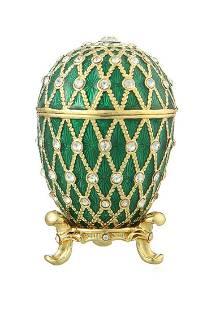 Faberge Easter Egg Grid Decorative Casket Trinket Green