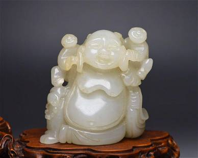Vintage statue Buddha Qing Dynasty handcarved figure