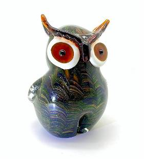 Blown glass owl statue with gold dust