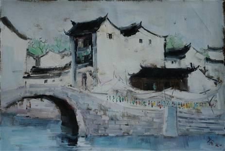 Chinese handmade oil painting-Wu Guanzhong