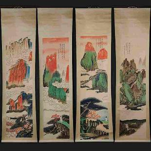 Four screens-Handmade Chinese painting scroll-Chang